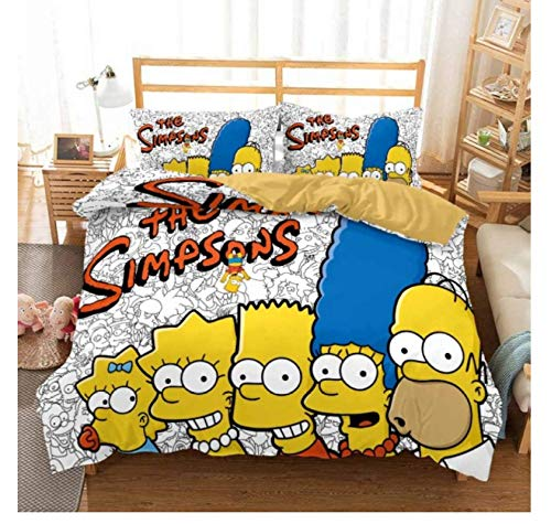 QGHZSCS Simpson Bettwäsche-Sets Cartoon Bettbezug-Set Luxus Kinderbett Bettbezug Kissenbezug 2/3 Stück Bettdecke 135x200 cm
