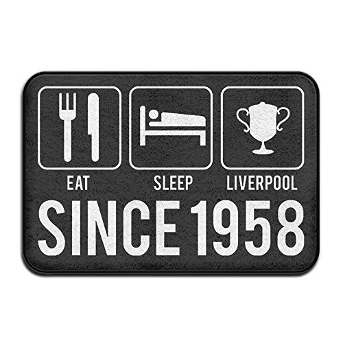 """Lmunxuy Door Mat Eat Sleep Liverpool Year 1958 Non-Slip Stain Fade Resistant Soft Living Dining Room Rug For Front Door Entrance Outside Doormat 23.6""""x 15.7"""" Inch"""