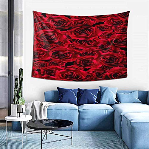 BOIPEEI Samantabhadra Rose Rosse Fiori Appeso A Parete Arazzo Paesaggio Arazzi per Camera da Letto Soggiorno Decorazione Dormitorio Decorazione del Partito 100cm X 70Cm