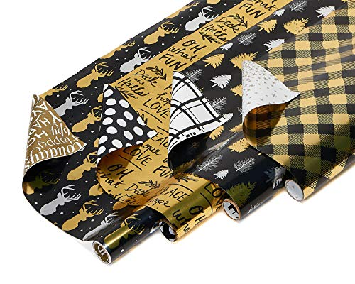 American Greetings Reversible Christmas Foil Wrapping Paper, Black and Gold, Plaid, Trees and Reindeer (4 Pack, 30', 80 sq. ft.)