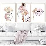 AdoDecor rosa Parfüm Poster und Drucke Leinwand Malerei