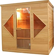 ALEKO CED6HELSINKI1 Canadian Red Cedar Indoor Wet Dry Sauna with 4.5 kW ETL Certified Heater 4 to 5 Person 82 x 61 x 81 Inches