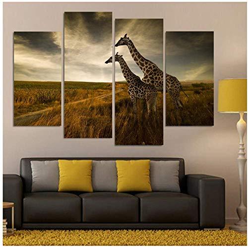 sjkkad De familie versiert twee giraffen kunstdruk op canvas muurschildering kunstdruk op canvas -40x80 40x100cm zonder lijst