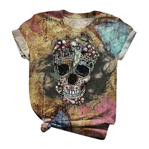 Blouses et hauts pour femmes, T-shirt à manches longues imprimé crâne 3D à manches courtes pour femmes, T-shirt à col rond, Hauts à manches longues pour femmes (Jaune 3XL)