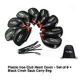 Posma CC030 ゴルフクラブヘッドカバー アイアンヘッドカバー プラスチック 9個入り Posma収納用の黒バッグ