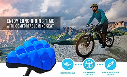 SPECIAL MADE Air Bike Seat Cushion 3D Bicycle Seat Inflatable Bike Cover Soft and Comfortable Replacement Bike Seat Pad,Adjustable Harness Shock Absorbing Comfort for Men Women Mountain Bike Hybrid