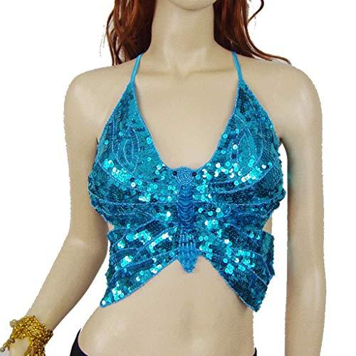 DANCER Débardeur Camisole Femme Shimmer Sequin Butterfly Tank À Motif De Danse du Ventre pour Femmes (Color : Lake Blue, Size : One Size)