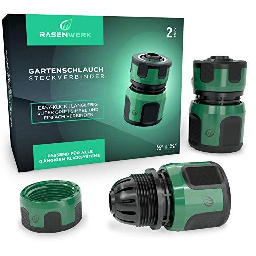RASENWERK® - Gartenschlauch Steckverbinder 1/2 Zoll - Schlauchverbinder - Schlauchanschluss - Connector ohne Wasserstop - 2 Stück