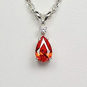 Mexican Fire Opal Necklace Sterling Silver 925 with Diamond Accent