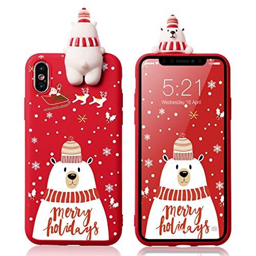 Yoedge Funda para Apple iPhone 7/8, Silicona Cárcasa 3D Doll Toy Muñeca Navidad con Dibujos Antigolpes de Diseño Suave TPU Bumper Case Fundas para Movil Apple iPhone SE 2020 (Oso Polar 1)