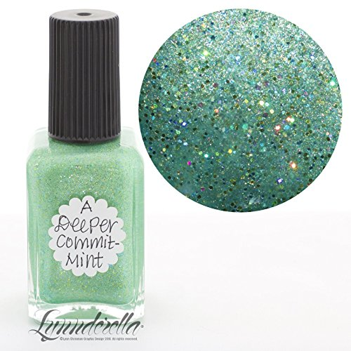Lynnderella Limited Edition Micro Glitter Green Holographic Nail Polish—A Deeper CommitMint