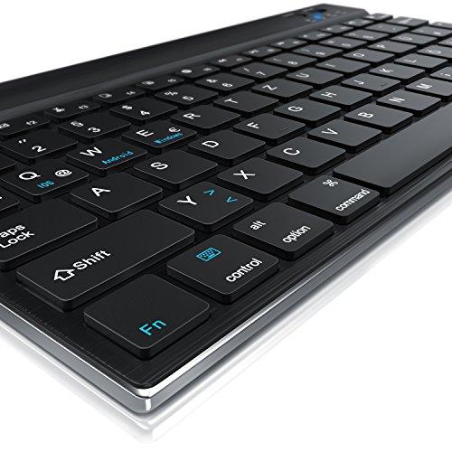 CSL - Ultra Slim Bluetooth Tastatur (Aluminium-Gehäuse) | Bluetooth 3.0 (Wireless) | Deutsches Tastatur-Layout | schwarz/silber | Layout opitmiert für Apple Produkte | Anwendung auch für PC / Android Geräte