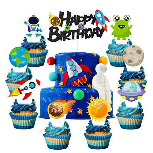 CY2SIDE 49PCS Space Cake Toppers, Outer Space Birthday Cake Decorations, Baby Shower Cake Topper, Galaxy Astronaut Party Supplies for Boys, with 1 Felt Happy Birthday Sign Cake Topper, 48 Cake Picks