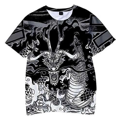 CYANDJ-One Piece-Camiseta de Manga Corta para niños Impresa en 3D, Camisa Polo Neutra y Divertida de Verano, suéter de Fiesta de Moda, Camiseta de Rebeca para niños-140
