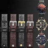 MTUP - Correa de piel universal para reloj diesel, correa de reloj, correa de reloj de pulsera de 24, 26, 28, 30 mm con remaches (color de la correa: negro plateado, ancho de la correa: 28 mm).