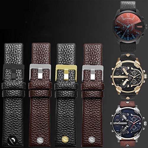 MTUP Correa universal de piel para reloj diésel, correa de reloj de pulsera, correa de reloj de 24, 26, 28, 30 mm, con remaches (color de la correa: plata blanca, ancho de la correa: 26 mm)
