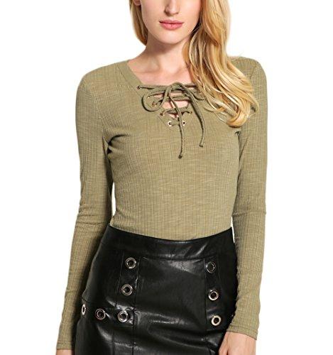 Fanmay Elegante camiseta de manga larga para mujer, cuello en V, para atar en un solo color, para verano, primavera verde M