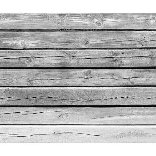 decomonkey Fototapete Holz Holzoptik 400x280 cm XL Tapete Fototapeten Vlies Tapeten Vliestapete Wandtapete moderne Wandbild Wand Schlafzimmer Wohnzimmer Brett grau
