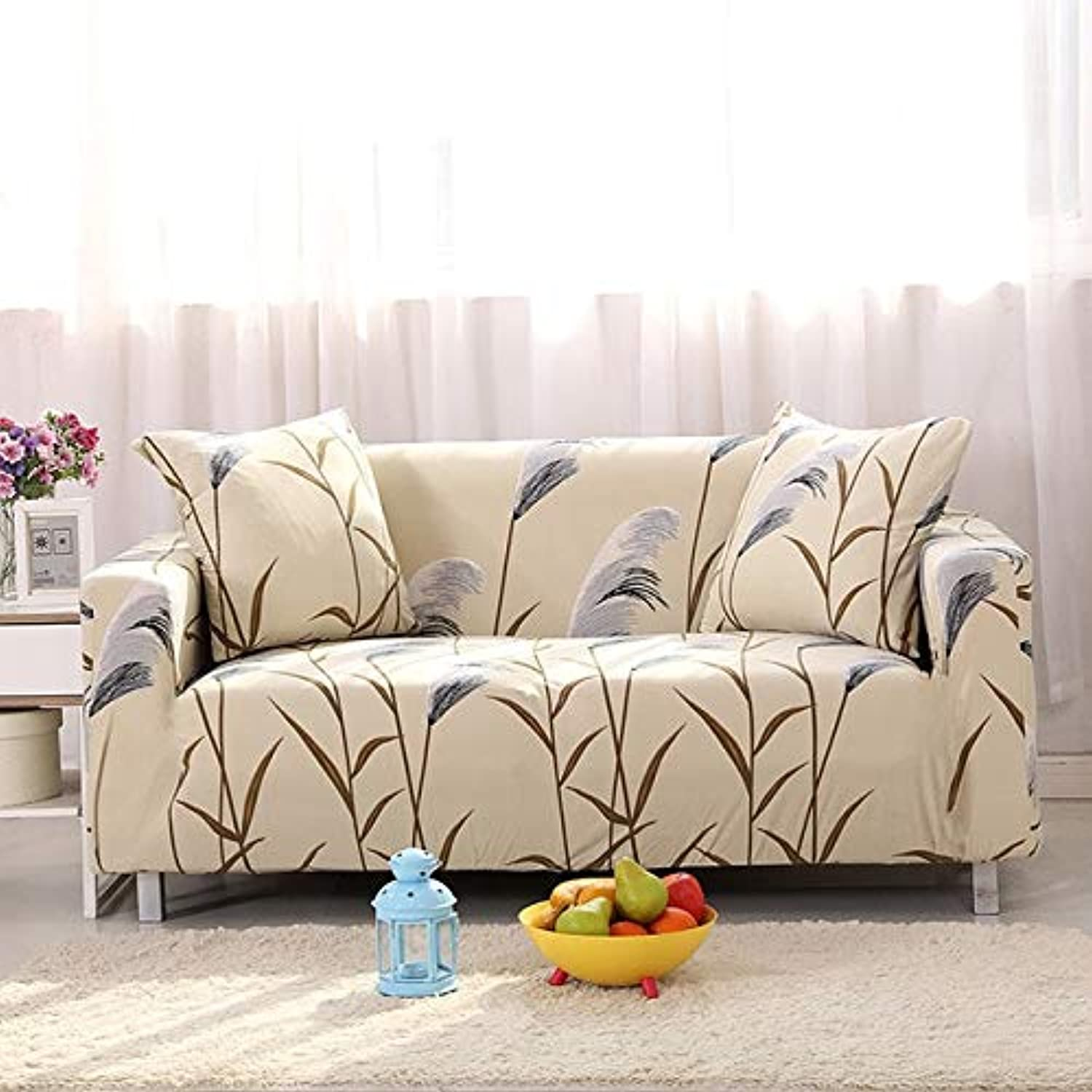 Floral Printing Stretch Elastic Sofa Cover Cotton Sofa Towel Slip-Resistant Sofa Covers for Living Room   colour14, 2-Seater 145-185cm