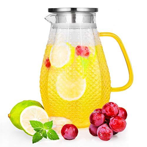 CNNIK Glas Krug, 1.5L Bleifrei Borosilikatglas Wasserkrug mit Deckel, Glaskaraffe für Heißes/Kaltes Wasser, Milch, Rotwein, Fruchtsaft, Kaffee und EIS Getränke