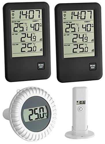 Poolthermometer Malibu MEGA TFA 30.3053.MEGA Funkthermometer incl. 2 Displays (schwarz)