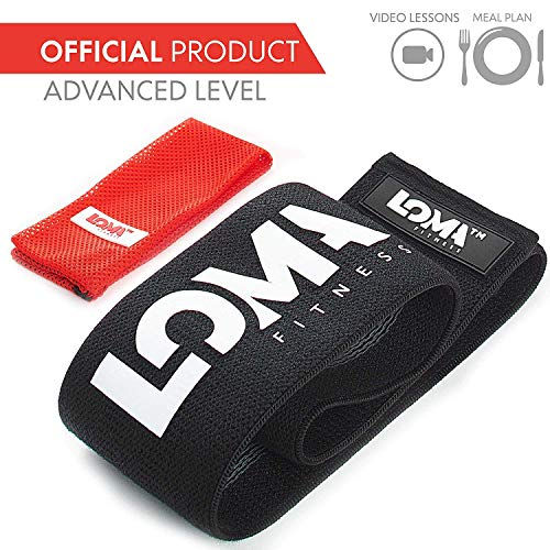 LOMA Resistance Hip Band- Premium Booty Band - Hip Bands Circle Heavy Resistance Bands for Legs & Butt - Bonus Video Lessons & Meal Plan (BLACKADVANCED 13)