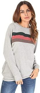 OULSEN Autumn Winter Women Fashion Sweatshirt Striped Splice Crewneck Long Sleeve Casual Loose Pullover Tops