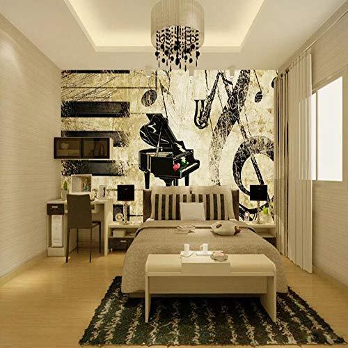 3D Vliestapete Foto Vlies Premium Fototapete 3D Europäischen Und Amerikanischen Retro-Klavier Hintergrundbild Mural-200 * 140cm