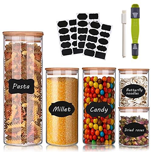 Tarro de Vidrio de Almacenamiento,Botes para Alimentos Vidrio,Botes de Cristal con Tapa de Bambú&Anillo de Silicona,para Conservar Alimentos Té Café Azúcar Harina Frijoles,Tarros de Cristal