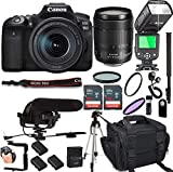 Canon EOS 90D with 18-135mm f/3.5-5.6 is USM Lens + 128GB Memory + Canon Deluxe Camera Bag + Pro Battery Bundle + Microphone + TTL Speed Light + Pro Filters,(22pc Bundle)