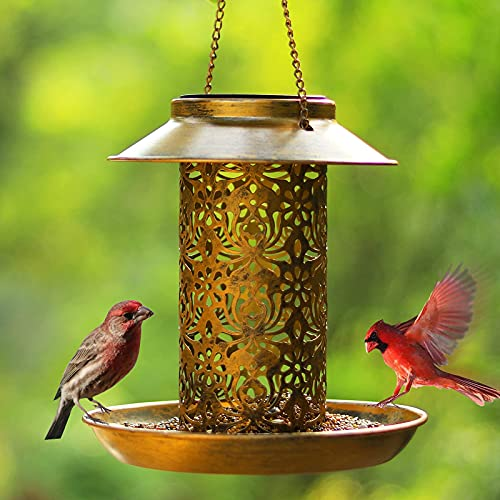 SWEETFULL Solar Bird Feeder for Outdoors Hanging, Metal Wild...