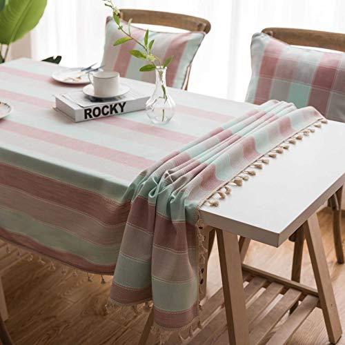 Onbekend No Brand gestreepte waterdichte tafeldoek kunst tafel rechthoekige thee tafel doek 140 * 180 Roze foto-breed gestreepte bezem kant