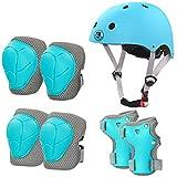 LANOVAGEAR Casco Infantil Set de Protección Casco 2-8 años Ajustable Rodilleras, Coderas y Muñequeras para Patinar Ciclismo Monopatín y Deportes Extremos (Azul Hielo, S)