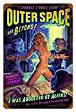 Alien Abduction - Pin-Up Girl Retro Metal Tin Sign Vintage Aluminum Sign for Home Coffee Wall Decor 8x12 Inch