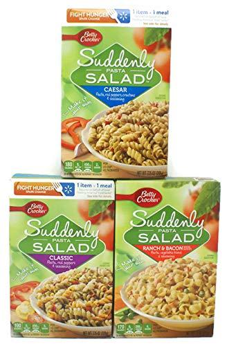 Variety Pack - Betty Crocker Suddenly Pasta Salad (7.25 Oz) - Caesar, Ranch & Bacon, Classic