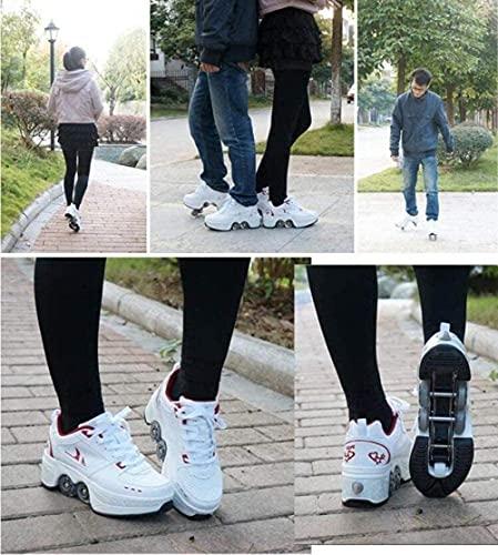 2-en-1 zapatos multiusos deformes patines de rueda de rodillo zapatos de rodillo deformación casual zapatillas de deporte caminar patines hombres mujeres floway skates whitesilver-36-Plata blanca