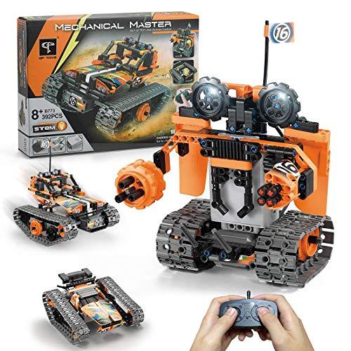 GPTOYS Baustein Auto/Baustein Roboter/ Baustein Panzer mit Fernbedienung, 392 Stück 3 in 1 STEM Baukasten - Zwei Motoren und Eine Kernbox - Kinderwissenschaft Lernen Lernspielzeug, 8+ Kinder