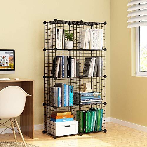 HJCC Cubos De Almacenamiento De, con Rejilla De Alambre Modular De Metal, Organizador De Estanterías Y Estanterías para Libros Origami, Negro