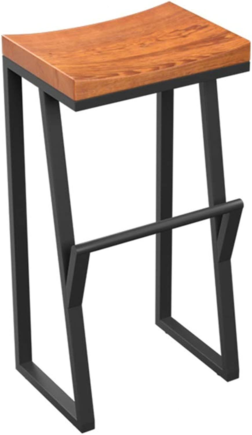 Retro Bar Stool Iron Art High Leg Chairs Solid Wood Seat Designer Creative Counter Stool Sturdy Household Seat 0522A (Size   Seat Height 75cm)