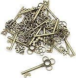 Juego de 30 llaves de bronce antiguas con diseño de esqueleto grande, diseño vintage