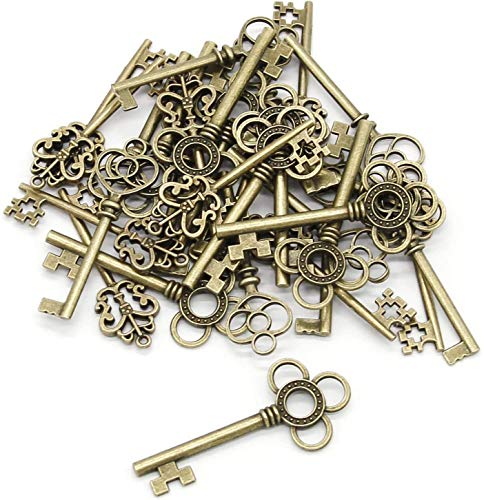 Schlüssel, Bronze, 30 Stück, antike Bronzeschlüssel, verschiedene, Vintage-Anhänger für Schmuck, DIY-Projekte