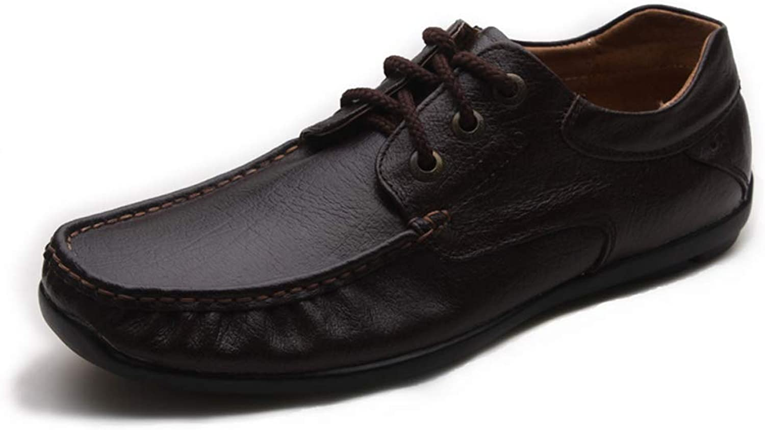 Men's Casual Leather shoes, Suede Leather, Rubber Non-Slip Outsole, Soft and Comfortable Laces (color   Brown, Size   42)