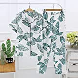 XFLOWR Conjunto de Pijama Informal de Verano, Pijamas Finos de algodón para Mujer, Pantalones de Manga Corta, Conjunto de Ropa de Dormir para Mujer, camisón cómodo para el hogar M Phyllostachypraecos
