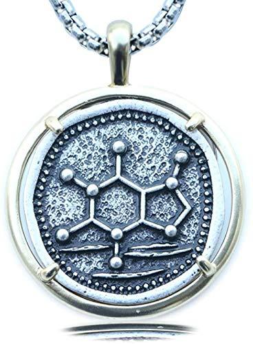 Liuqingzhou Co.,ltd Collar de molécula de cafeína Colgante de química para Hombres Regalo de graduación joyería Minimalista de ADN geométrico Collares de Plata