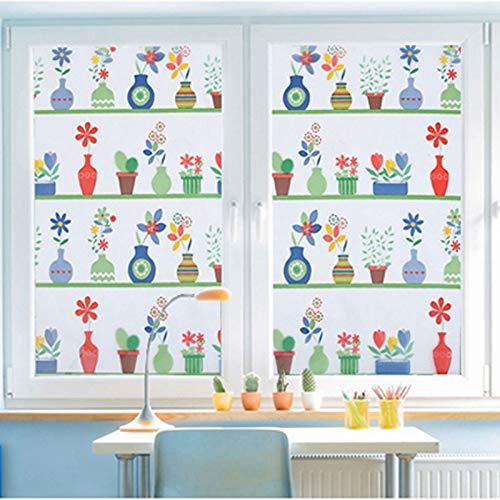 YSHUO raamsticker gekleurd vaas glas film mat statische Cling Kids kamer zelfklevende huis decoratieve raamfilms lengte