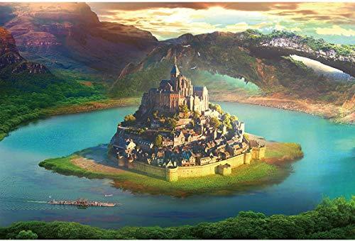 Y&J Puzzles De 1000 Piezas para Infantiles Castillo En El Lago Kits De Decoración para El Hogar. Madera Juguetes Divertidos Juegos Gran Regalo