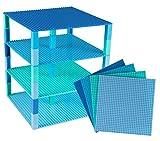 Strictly Briks Set per Costruzione Torre - Include 6 basi impilabili e 50 pilastri 2x2 - compatibili con Tutte Le Principali Marche - 25,4 x 25,4 cm - Blu/Verde/Blu