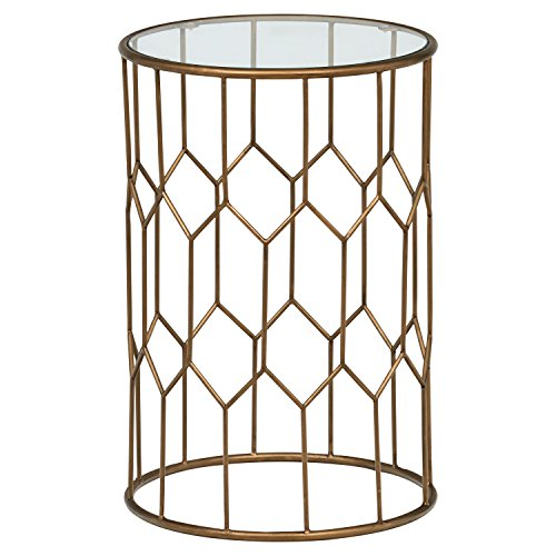 "Amazon Brand – Rivet Geometric Modern Glass and Metal Side End Table Stand, 15.6"" W, Gold Finish"