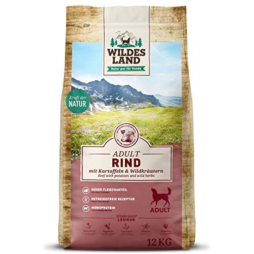 Wildes Land | Trockenfutter für Hunde | Nr. 5 Rind | 12 kg | mit Kartoffeln und Wildkräutern | Glutenfrei & Hypoallergen | Extra viel Fleisch | Alle Hunderassen | Beste Akzeptanz und Verträglichkeit