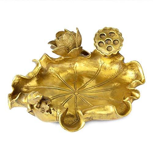 CESULIS Gran Capacidad Oficina Creativo de Cobre Puro de Hoja de Loto Lotus Cenicero Decoración Decoración Estudio de Negocios Cenicero 20X17X6cm Regalos